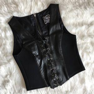 Vintage Black Leather Stretch Lace Up Corset Top